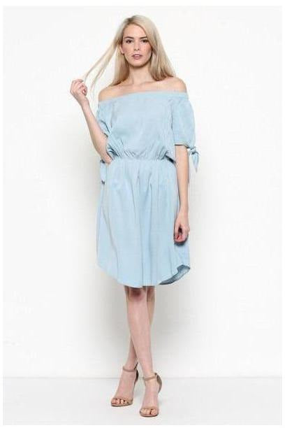 Icy Blue Off Shoulder Dress