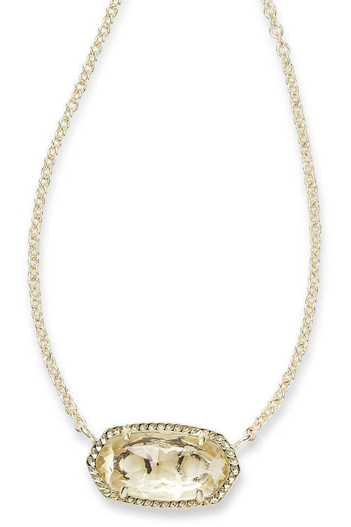 Kendra Scott: Elisa Pendant Necklace In Clear Crystal