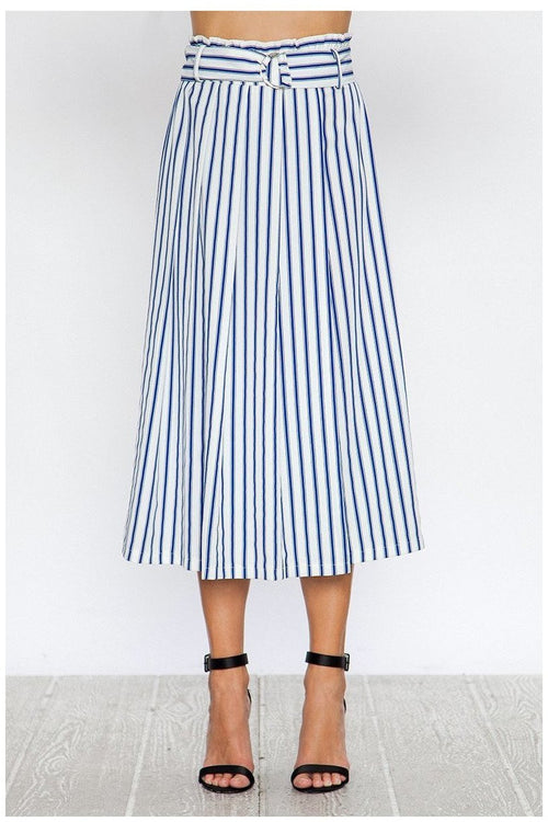 Striped Gaucho Pants, Blue & White