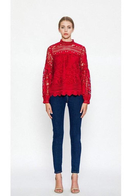 HIGH NECK FLORAL LACE TOP WITH BISHOP SLEEVES, Burgundy