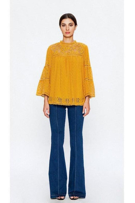 MIXED LACE TOP WITH WINGED SLEEVES , Mustard