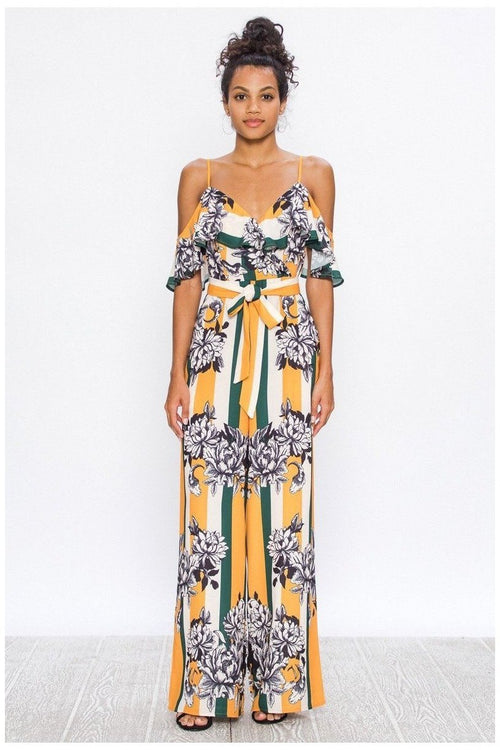 You Set The Stage, Floral and Striped Jumpsuit With Ruffle Neckline