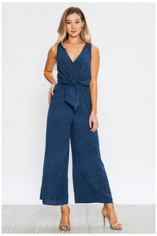WIDE LEG JUMPSUIT WITH FAUX BUTTON-DOWN NECKLINE AND SCARF TIE BODICE