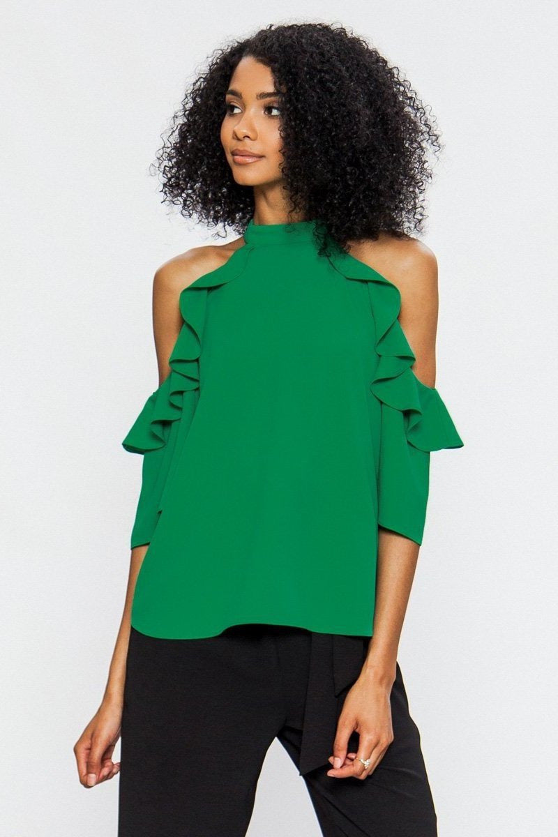 Emerald COLD SHOULDER HALTER TOP WITH RUFFLED SLEEVES