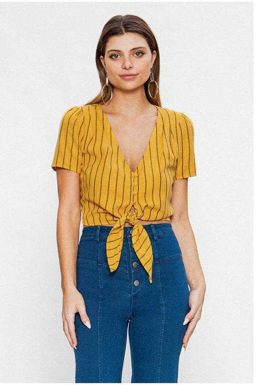 STRIPED LINEN TOP WITH BUTTON-DOWN CLOSURE AND SCARF TIE HEM, Mustard