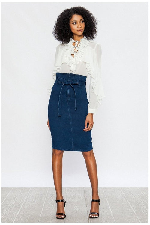 High Waisted Denim Skirt - RMC Boutique