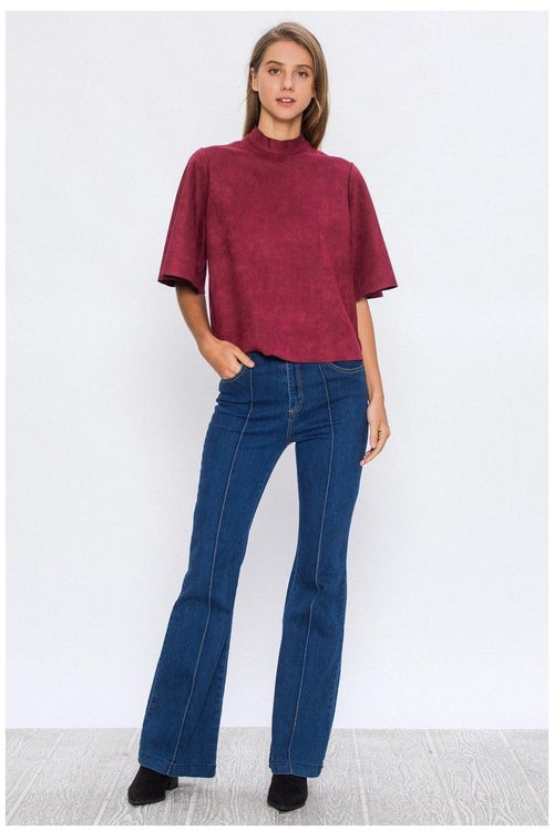 FAUX SUEDE MOCK NECK TOP WITH FLARED SLEEVES