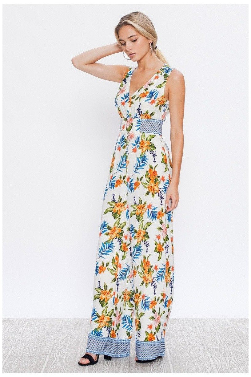 Sweet Oasis Tropical Print Jumpsuit