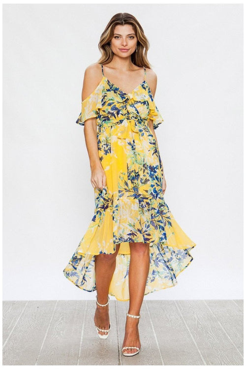 COLD SHOULDER HIGH LOW DRESS WITH SURPLICE BODICE AND FLORAL PRINT