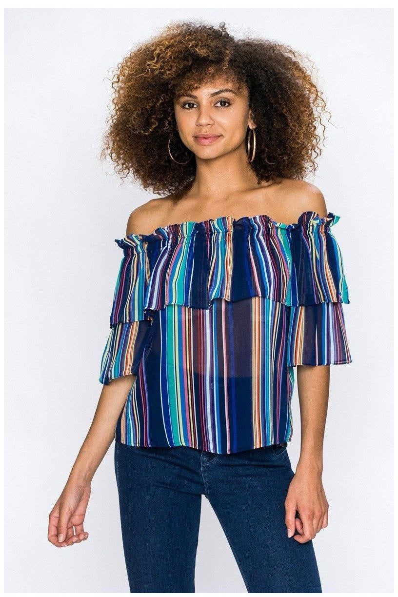 Tropical Times, Off Shoulder Striped Top - RMC Boutique