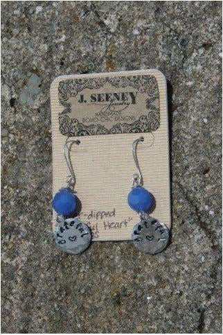 "J.Seeney: ""Grateful Heart"" silver-dipped earrings - RMC Boutique"