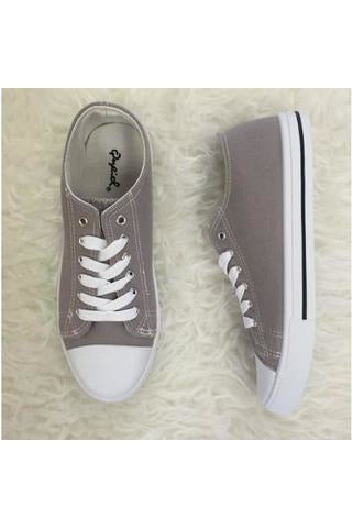 Lace Up Sneakers - Grey Canvas - RMC Boutique