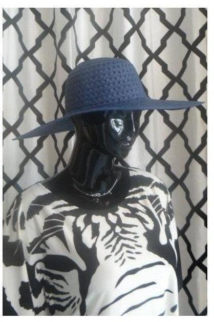 """Summer Time Fine' Floppy Hat (navy blue) - RMC Boutique"