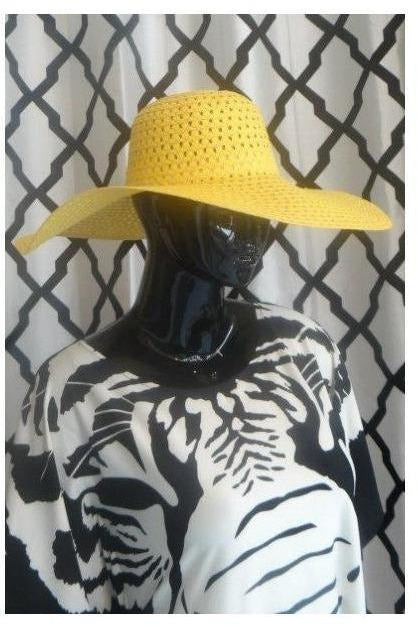 """Summer Time Fine' Floppy Hat (yellow) - RMC Boutique"