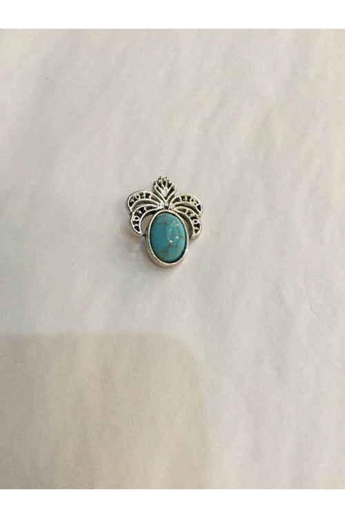 Snapz: Pineapple design snap silver fall finished with turquoise stone