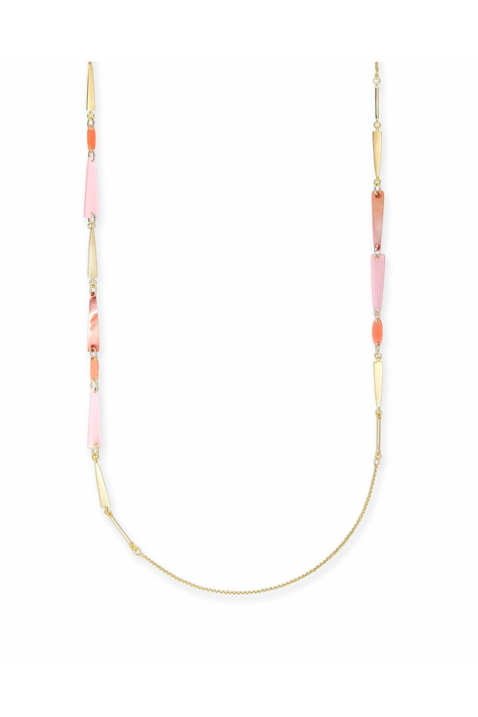 Aylin Gold Long Necklace in Peach Mix - RMC Boutique