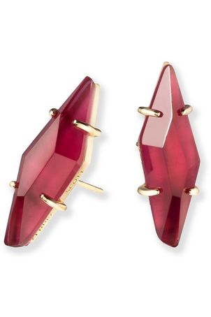 Kendra Scott: Belinda Gold Stud Earrings In Burgundy Illusion - RMC Boutique  - 1