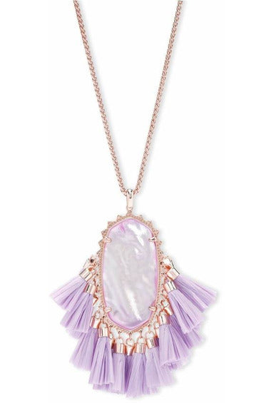 Kendra Scott: Betsy Rose Gold Long Pendant Necklace In Lilac Mother Of Pearl - RMC Boutique
