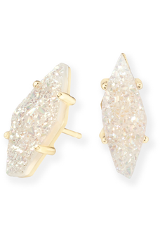 Kendra Scott: Brook Gold Stud Earrings In Iridescent Drusy Stone - RMC Boutique  - 1