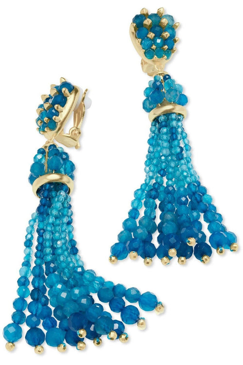 Kendra Scott: Cecily Gold Clip On Statement Earrings In Teal Agate - RMC Boutique