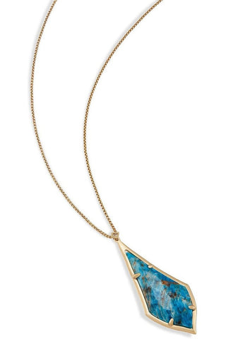 Kendra Scott Eva Gold Long Pendant Necklace In Black Opaque Glass