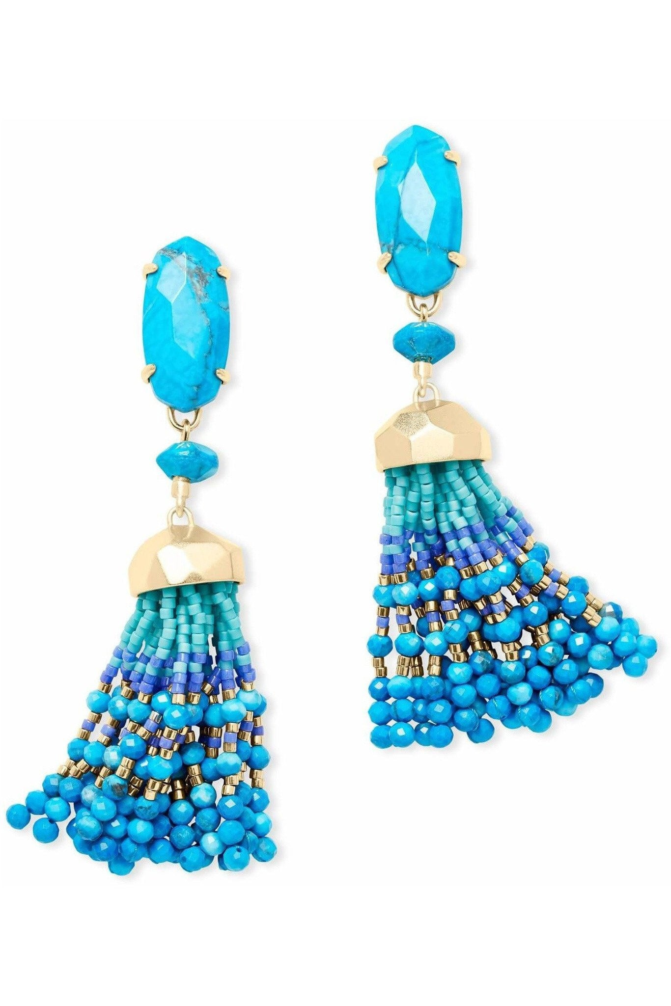 Kendra Scott: Dove Gold Statement Earrings In Aqua Howlite