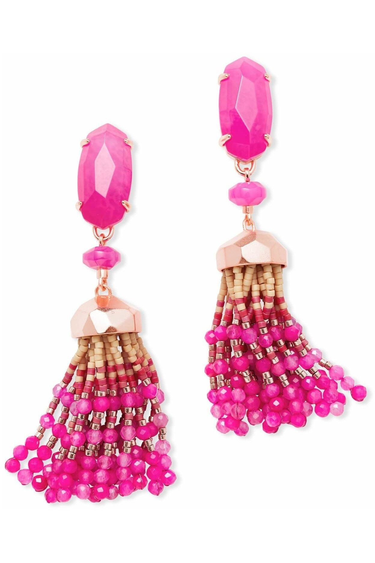 Kendra Scott: Dove Gold Statement Earrings In Pink Agate