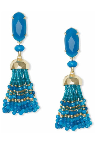 Teal Thread Tassel Earrings