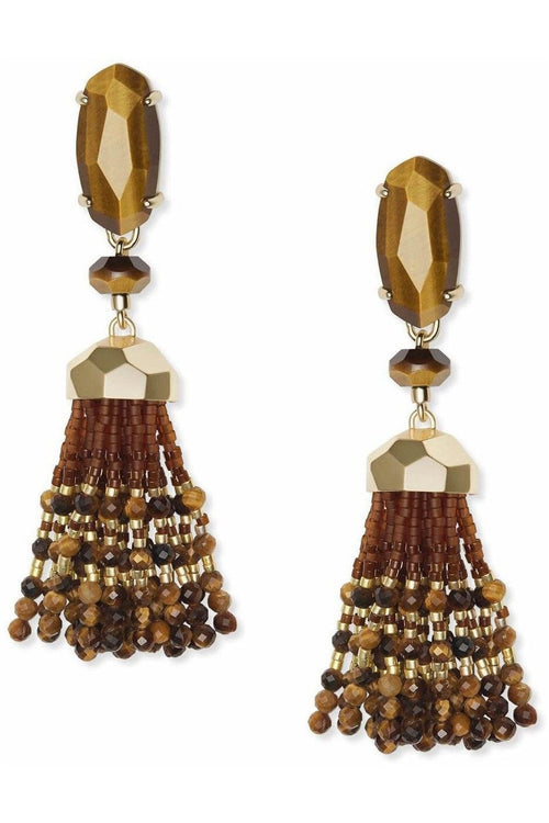 Kendra Scott Dove Earring Gold Brown Tigers Eye - RMC Boutique