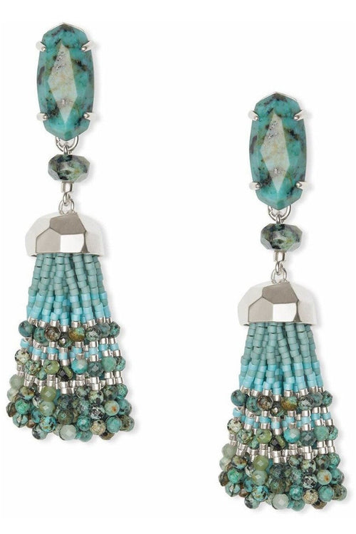 Kendra Scott Dove Silver Statement Earrings In African Turquoise - RMC Boutique