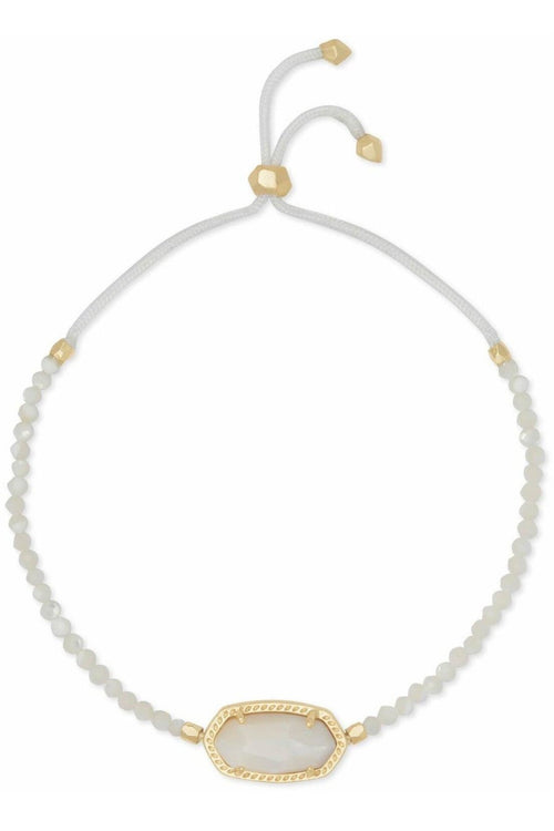 Kendra Scott: Elaina Gold Beaded Chain Bracelet In Ivory Pearl - RMC Boutique