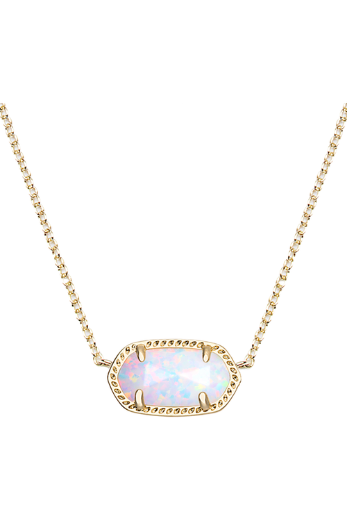 Kendra Scott: Elisa Gold Pendant Necklace In White Kyocera Opal - RMC Boutique
