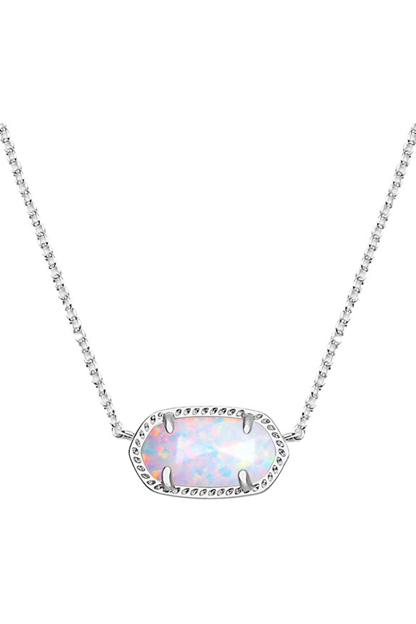 Kendra Scott: Elisa Silver Pendant Necklace In White Kyocera Opal - RMC Boutique