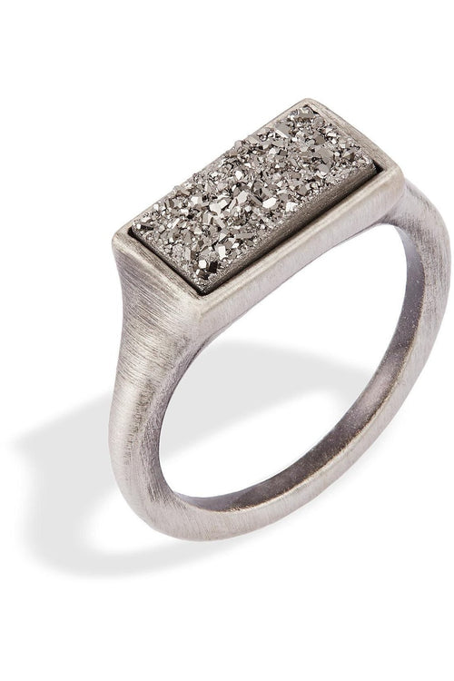 Kendra Scott: Glenna Ring In Silver In Platinum Drusy