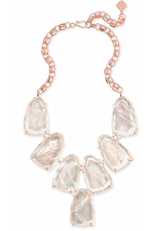 Kendra Scott: Harlow Rose Gold Statement Necklace In Suspended Ivory Pearl - RMC Boutique