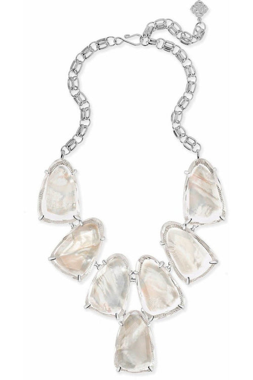Kendra Scott: Harlow Silver Statement Necklace In Suspended Ivory Mother Of Pear - RMC Boutique
