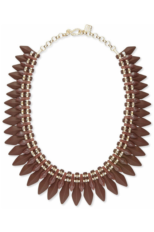 Kendra Scott: Lazarus Gold Statement Necklace In Brown Marbled Acrylic