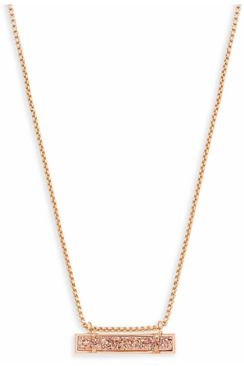 Kendra Scott: Leanor Bar Pendant Necklace In Rose Gold Drusy