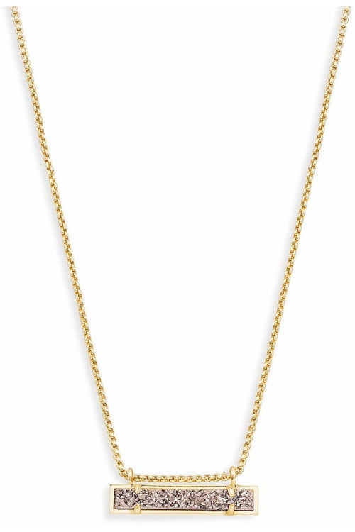 Kendra Scott: Leanor Gold Bar Pendant Necklace In Platinum Drus
