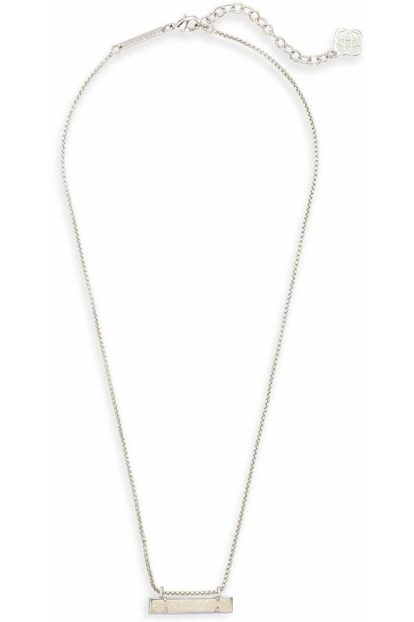 Kendra Scott: Leanor Silver Bar Pendant Necklace In Iridescent Drusy