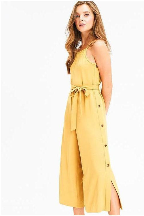 Color Of The Season Button Side Detail Jumpsuit