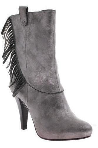 Poetic License: Pure and Easy Fringe Ankle Boot, Pewter - RMC Boutique