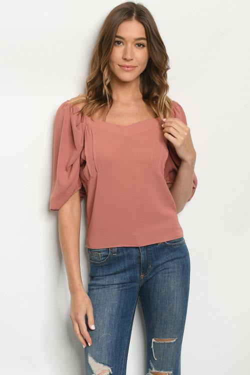 Rouge Pleated Pink Top - RMC Boutique