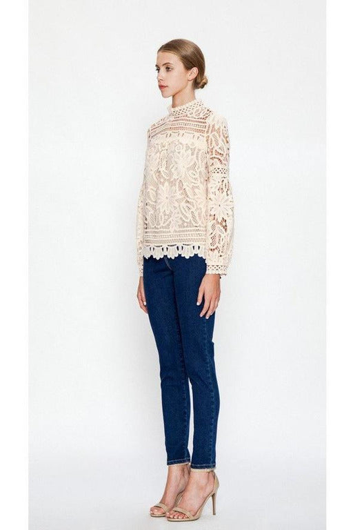 HIGH NECK FLORAL LACE TOP WITH BISHOP SLEEVES, Ivory