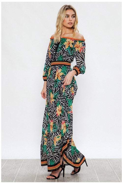 TROPICAL PRINT OFF-THE-SHOULDER MAXI DRESS WITH TIE CLOSURE AND FLOUNCE HEM
