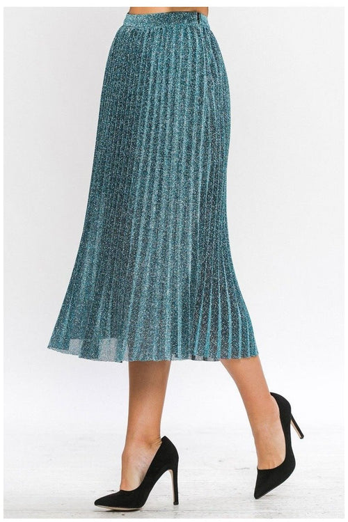 Glitz Gal Pleated Shimmer Skirt, Teal - RMC Boutique