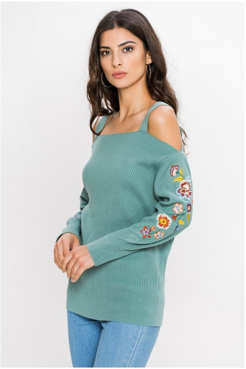 Cold Shoulder Light Weight Embroidered Sweater, Sage
