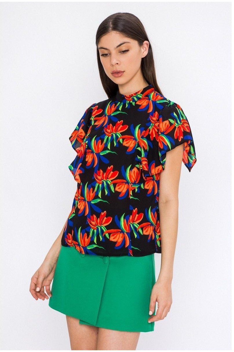 Abstract Vibes Tropical Print Blouse