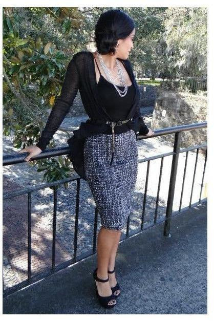 Priss Miss Tweed Pencil Skirt - RMC Boutique