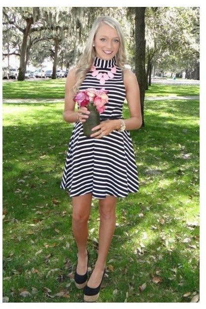 Ana's Bold Black and White Striped Dress - RMC Boutique